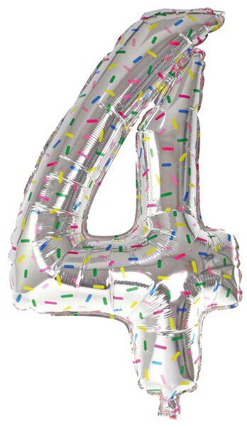 folieballon XL cijfer 0-9 zilver zilver - 1000019538 - HEMA