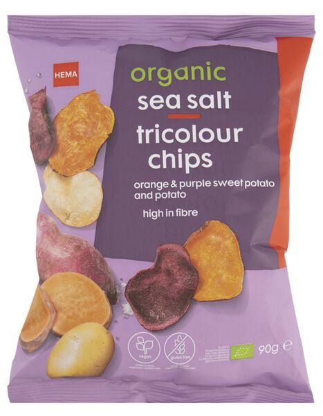 Chips tricolour met zeezout biologisch 90gram