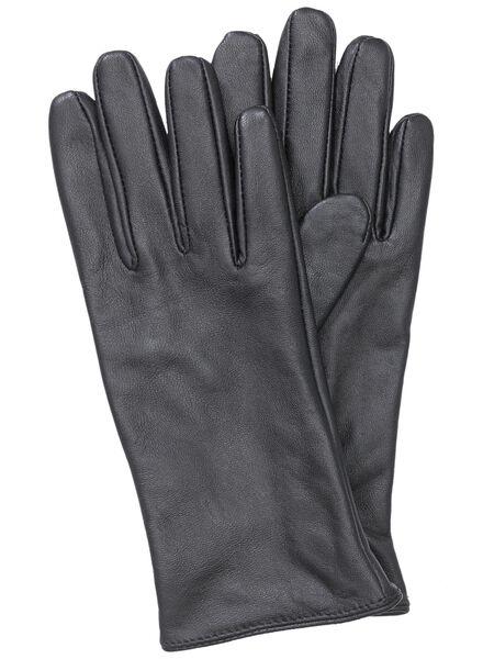 dames leren handschoen zwart zwart - 1000000872 - HEMA