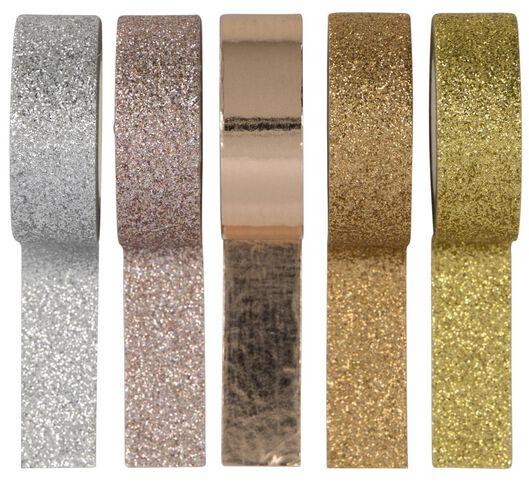 washi tapes metalic glitter - 5 stuks - 14120046 - HEMA