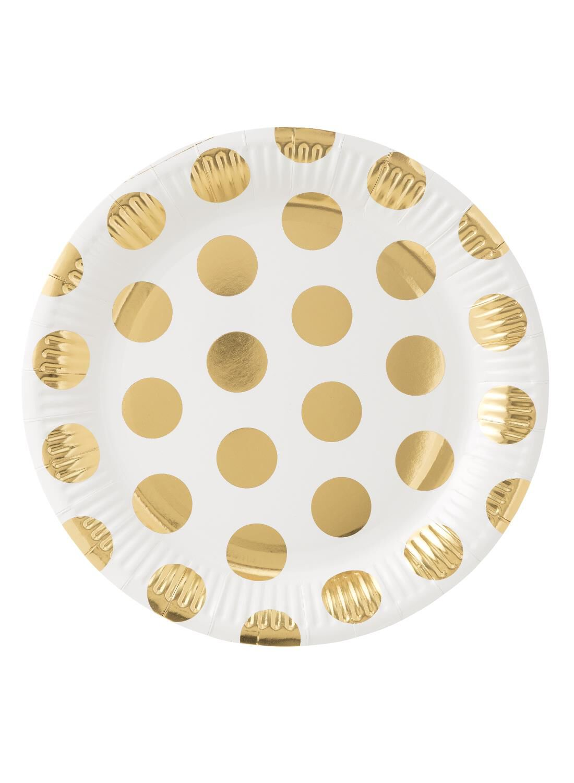 HEMA Papieren Bordjes – 22 Cm – Wit/goud Stip – 8 Stuks (goud)