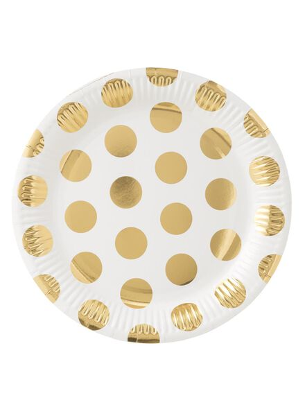 papieren bordjes - 22 cm - wit/goud stip - 8 stuks - 14230075 - HEMA