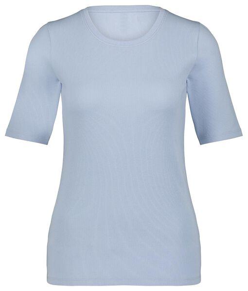 dames t-shirt rib lichtblauw lichtblauw - 1000024891 - HEMA