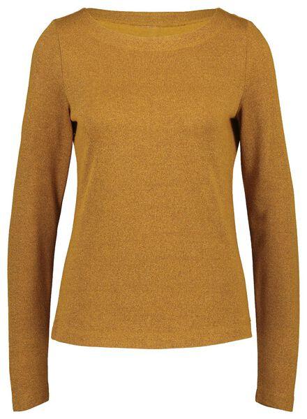 dames t-shirt glitter okergeel okergeel - 1000021677 - HEMA