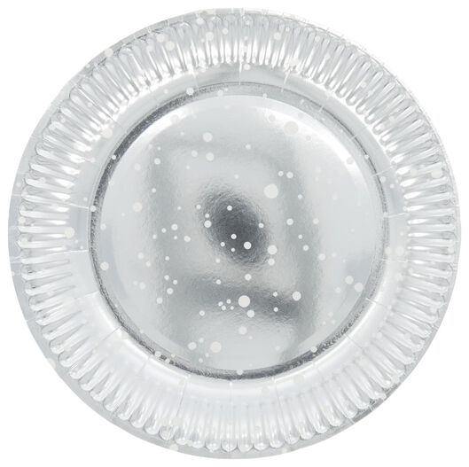 papieren borden Ø 23 cm - zilver - 8 stuks - 14210131 - HEMA