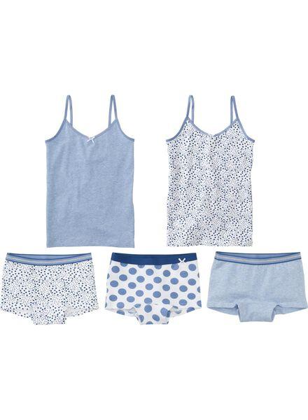 2-pak meisjeshemden middenblauw middenblauw - 1000001482 - HEMA