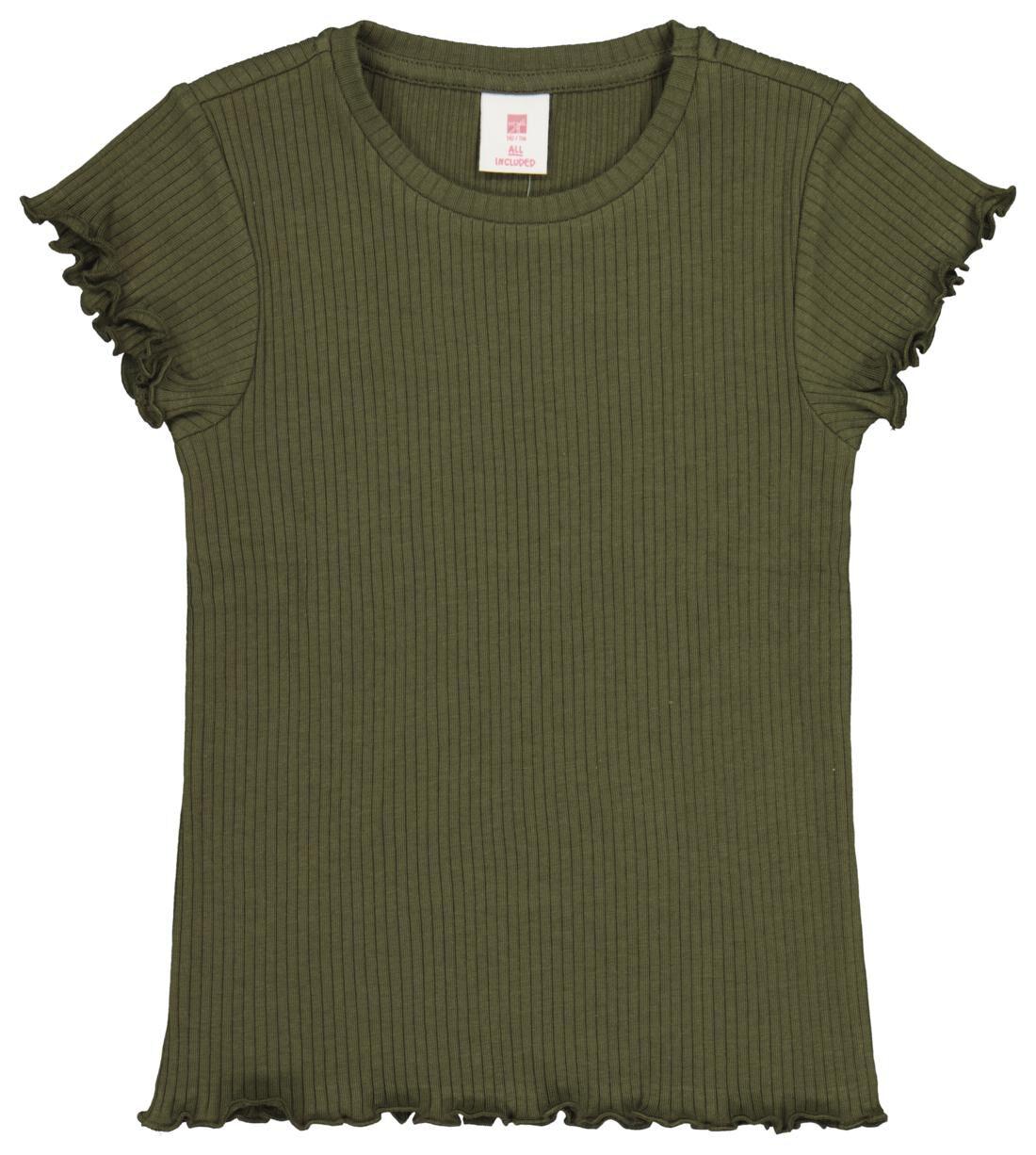 HEMA Kinder T-shirt Rib Legergroen (legergroen)