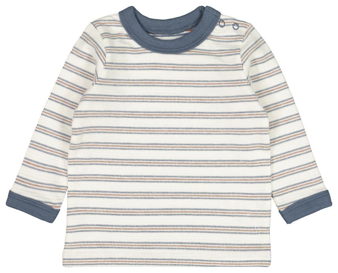 HEMA Baby T-shirt Streep Gebroken Wit (gebroken wit)