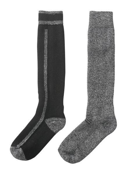 2-pak heren skisokken zwart zwart - 1000010432 - HEMA