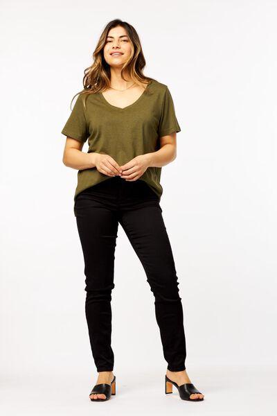 dames t-shirt olijf XL - 36380489 - HEMA