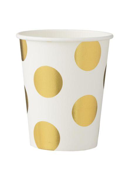 papieren bekertjes - 250 ml - wit/goud stip - 8 stuks - 14230076 - HEMA