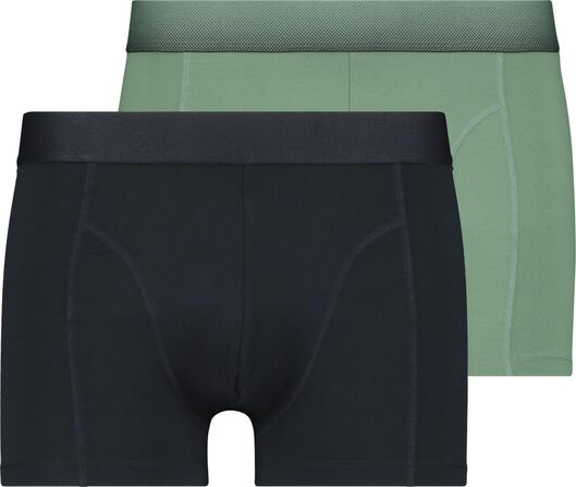 herenboxers kort - recycled micro/stretch 2 stuks donkerblauw donkerblauw - 1000022918 - HEMA