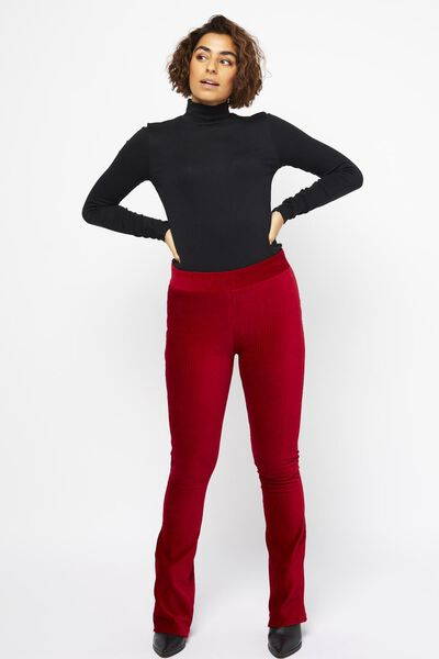 damesbroek corduroy rib rood rood - 1000022111 - HEMA