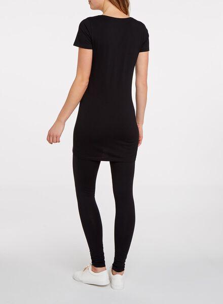 dames t-shirt extra lang zwart M - 36365966 - HEMA