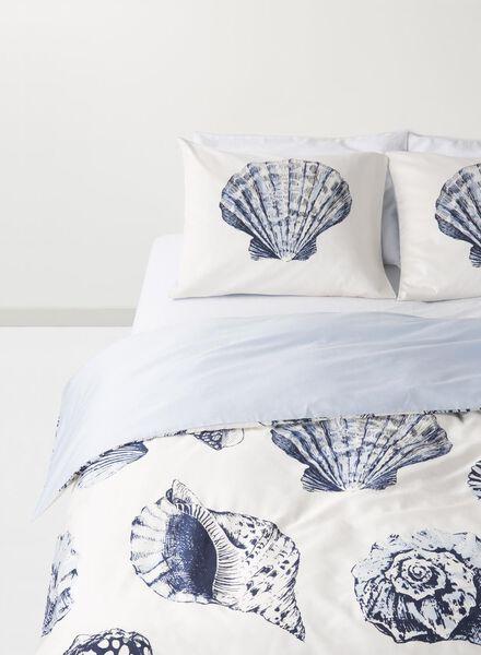 dekbedovertrek - 140 x 200 - hotel katoen satijn - wit schelp zeeblauw 140 x 200 - 5710073 - HEMA