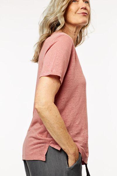 dames t-shirt linnen roze M - 36262332 - HEMA