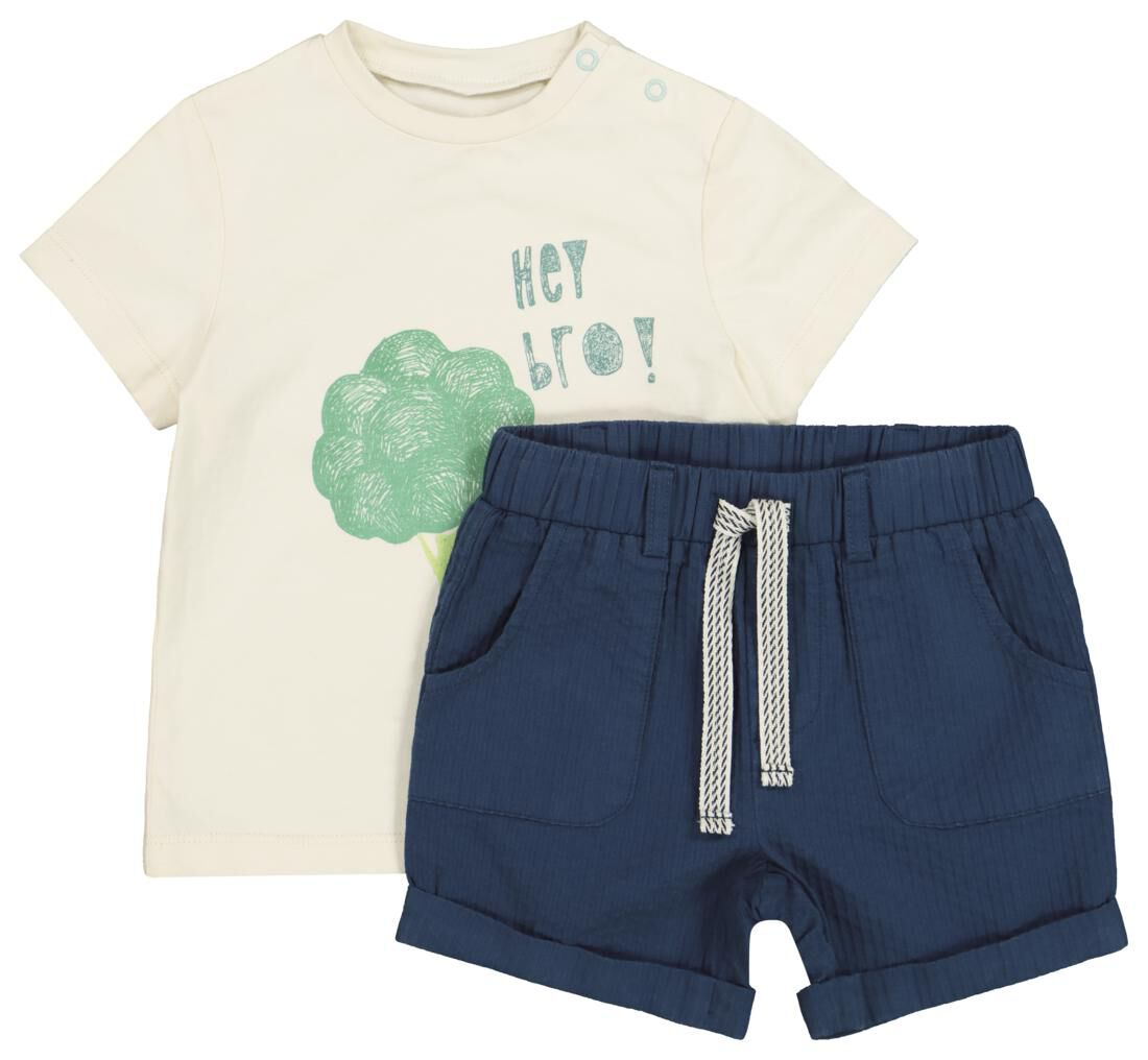 HEMA Baby T-shirt En Short Beige (beige)