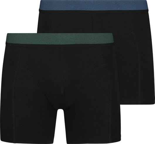 2-pak herenboxers lang met bamboe zwart zwart - 1000018794 - HEMA