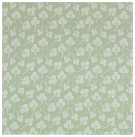theedoek 65x65 katoen viooltjes lichtgroen - 5410119 - HEMA