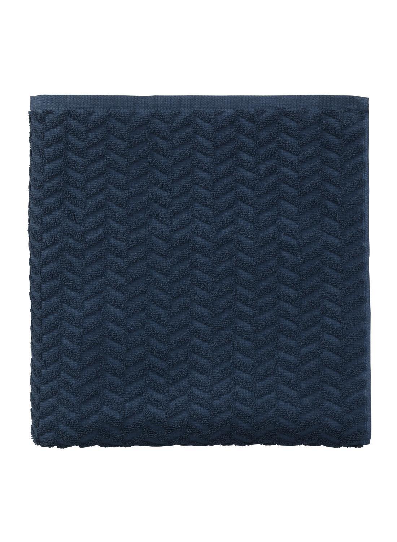 HEMA Handdoek - 70 X 140 Cm - Zware Kwaliteit - Donkerblauw Zigzag (bleu foncé)