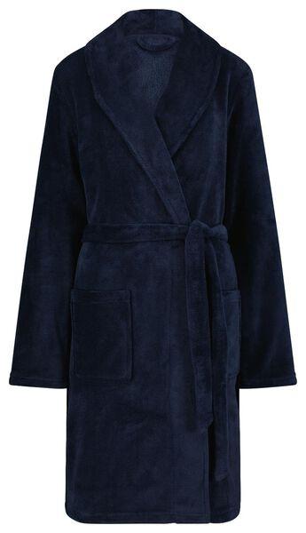dames badjas fleece donkerblauw S/M - 23420051 - HEMA