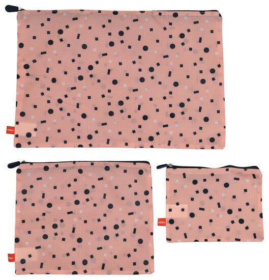 bagage organizers - 3 stuks - roze - 18630104 - HEMA