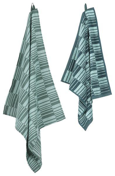theedoek - 65 x 65 - katoen - groen geblokt - 5400137 - HEMA