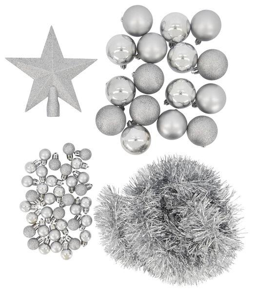 kerstboom decoratieset zilver 54-delig - 25100930 - HEMA