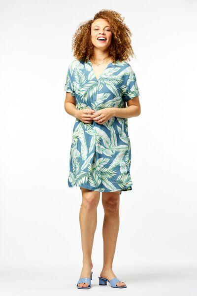 dames tuniek bladeren blauw - 1000024274 - HEMA