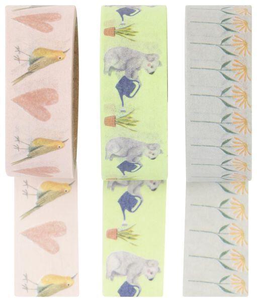 washi tape dieren - 3 stuks - 14150055 - HEMA