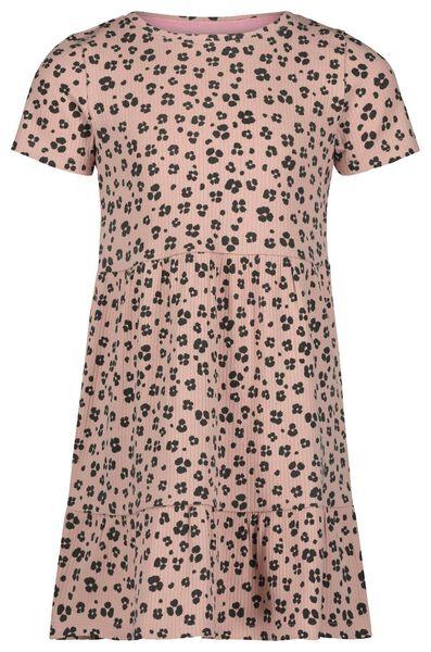 kinderjurk rib animal roze 110/116 - 30841354 - HEMA
