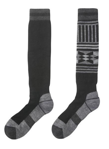 2-pak heren skisokken zwart zwart - 1000010425 - HEMA