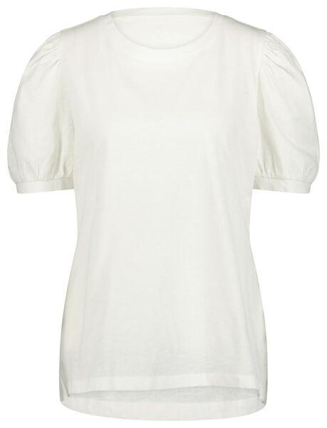 dames t-shirt pofmouw wit wit - 1000023721 - HEMA