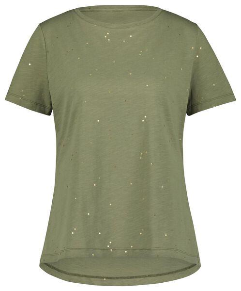 dames t-shirt olijf XL - 36240274 - HEMA