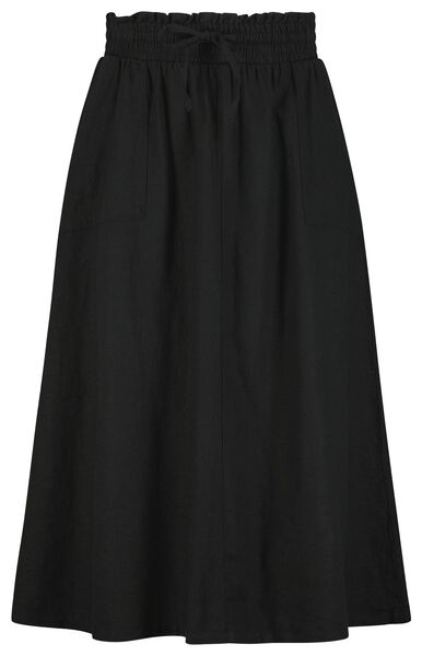 damesrok met linnen zwart - 1000024263 - HEMA