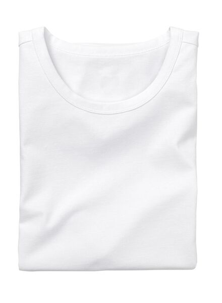 heren t-shirt slim-fit extra lang wit wit - 1000005985 - HEMA