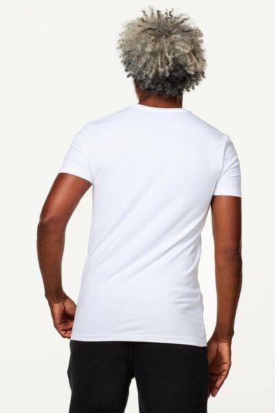 heren t-shirt slim fit wit wit - 1000010179 - HEMA
