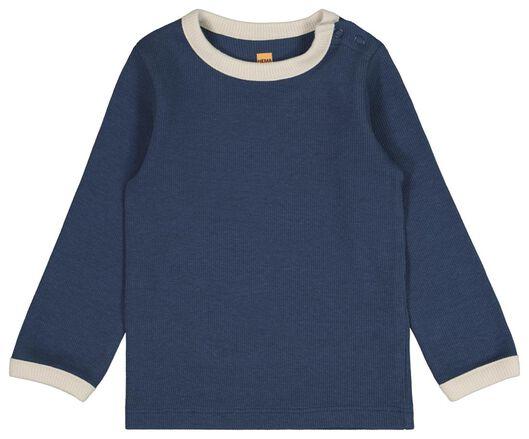 baby t-shirt rib blauw 86 - 33112645 - HEMA