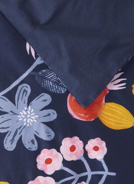 dekbedovertrek - 200 x 200 - hotel katoen satijn - blauw bloem multicolor 200 x 200 - 5710077 - HEMA