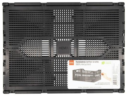 klapkrat letterbord recycled 30x40x17 - zwart zwart 30 x 40 x 17 - 39821037 - HEMA