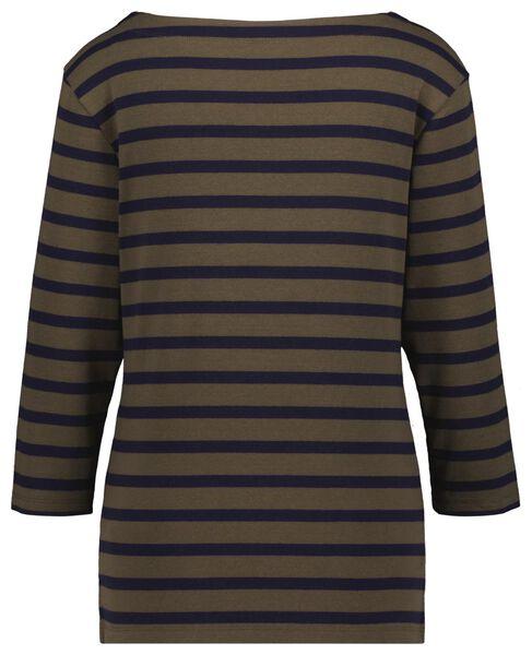 dames t-shirt boothals strepen donkerblauw S - 36388376 - HEMA