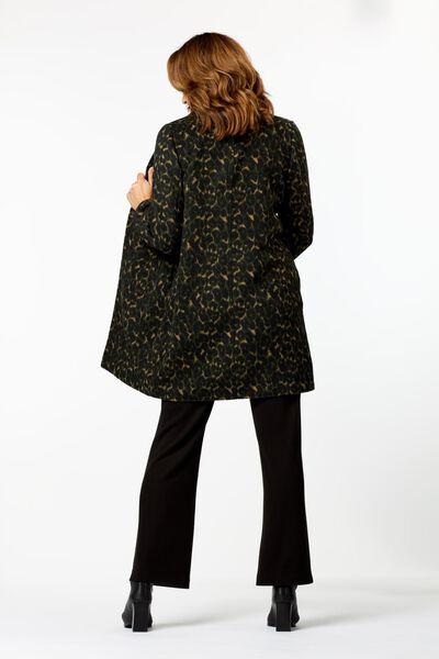 damesjas met wol donkergroen donkergroen - 1000024824 - HEMA