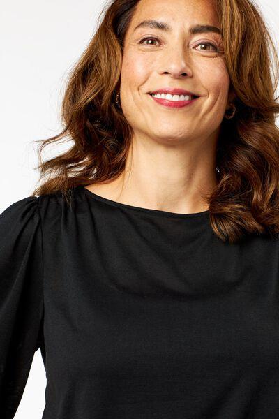 dames t-shirt met pofmouw zwart XL - 36234159 - HEMA