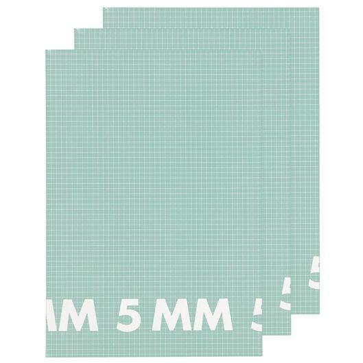 Schriften A4 geruit 5x5mm mint - 3 stuks - in Schriften