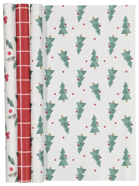 cadeaupapier 200x50 kerst - 3 stuks - 25700127 - HEMA