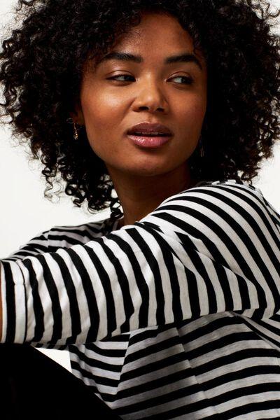 dames t-shirt streep zwart/wit zwart/wit - 1000023729 - HEMA