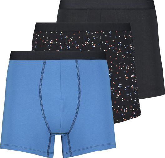 3-pak herenboxers lang donkerblauw donkerblauw - 1000018352 - HEMA