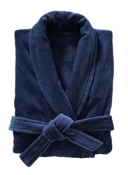 badjas velours donkerblauw donkerblauw - 1000003047 - HEMA