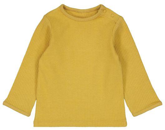 newborn t-shirt rib katoen stretch geel geel - 1000023447 - HEMA