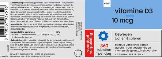 vitamine D3 10mcg - 360 stuks - 11404000 - HEMA